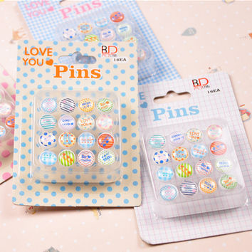 16 Pics Pack Cute Korean Character Decorative Drawing Cork Board Pins Broches Pushpin Japanese Bedside Tables Thumbtack Nails