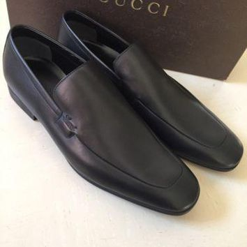 NIB $ 685 Gucci Genuine Leather Men¡¯s Shoes Black 13.5 ( 14.5 US ) Made in Italy