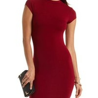 Mock Neck Bodycon Dress by Charlotte Russe - Oxblood