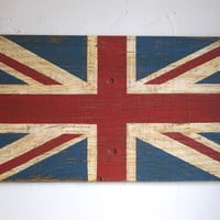 British Union Jack Flag Sign Painted on Reclaimed Wood