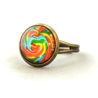 ON SALE Ring Colourful Rainbow Candy Yummy Sweetie Abstract Pop Jewelry Unique Gifts Kawaii