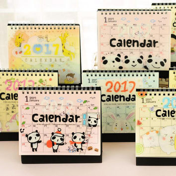 Y07 2017 Cute Kawaii Cartoon Animals Table Calendar DIY Desktop Storage Decor Creative Promotion Gift