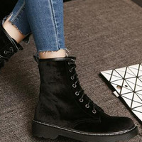 Black Velvet Lace Up Chunky Ankle Boots