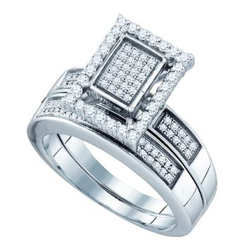 Sterling Silver Womens Diamond Rectangle Cluster Bridal Wedding Engagement Ring Band Set 1/2 Cttw