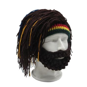 Hot Wig Beard Hat Rasta Beanie Caveman Bandana Handmade Crocheted Winter Hats Men Women Halloween Costume Funny Birthday Gifts