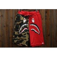 BAPE summer camouflage beach street casual stitching five pants F-A-KSFZ Red