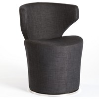 Lasso Swivel Accent Chair Charcoal Fabric Stainless Base