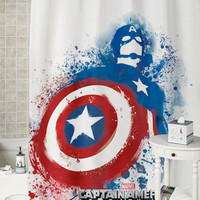 Captain America Splash  special shower curtains that will make your bathroom adorable.