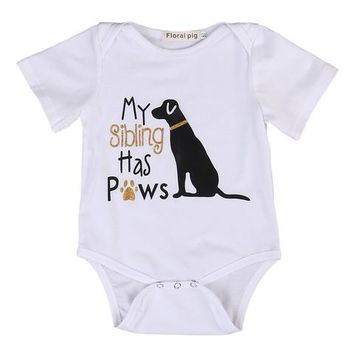ELSA BELLA BABY MY SIBLING HAS PAWS Onesuit 0-6 MTHS