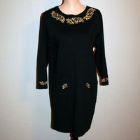 Black Dress Size Small Tunic Dress Black & Gold Dress Long Sleeve Embroidered Long Top Black Tunic Top FREE SHIPPING Medium Womens Clothing