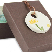 Handmade Ceramic Pendant - Flower Design - Nature Inspired Necklace - Flower Pendant