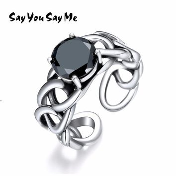 925 Sterling Silver Black Zircon Chain Rings Punk Style Adjustable Unisex Cuff Rings 2018 Fashion Gifts Say You Say Me