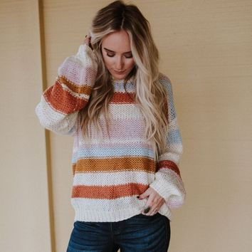 Rolling Meadow Striped Sweater - Ivory