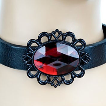 Red Stone with Black Victorian Setting Leather Choker Gothic Necklace
