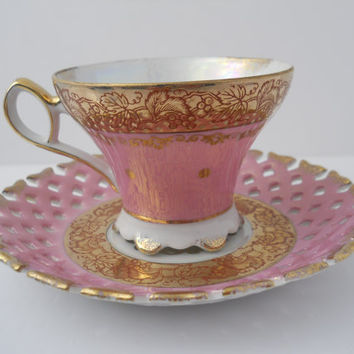 Teacup & Saucer Royal Halsey Very Fine Porcelain by Replays