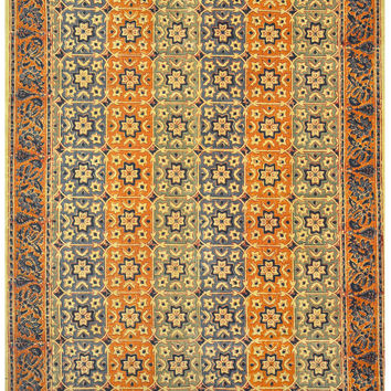 Hand Block Print Moroccan Style  Cotton Flat Weave Geometric Rug (4'x6') - Living Room Decor