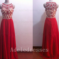Hot Sales Red Chiffon Beaded Prom Dress 2014 ,A Line High Neck Long Prom Dresses,See Through Prom Gown Evening,Sexy Custom Graduation Dress