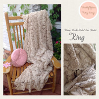 HEIRLOOM QUALITY Huge Beige Vintage Tatted Lace Hand Crochet Blanket or Coverlet King Size Crochet Flowers Shabby Chic Cottage Vintage Style