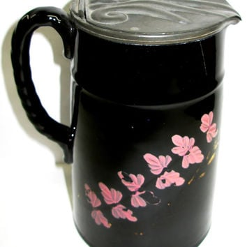 Antique Jackfield Black English Pottery Painted Pink Gold Leaves Lid Pitcher Tankard JUG