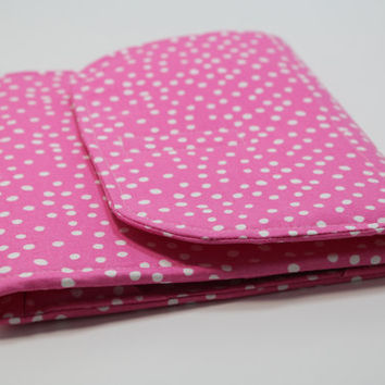 Ipad Air Hard Cover Sleeve Ipad Air Clutch case Padded Handmade Cover - Pink Polka Dots