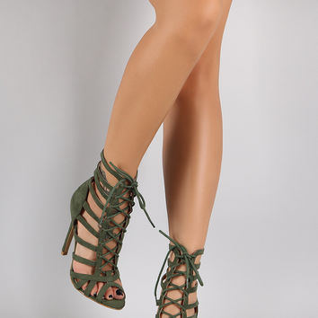 Suede Strappy Corset Lace Up Peep Toe Stiletto Heel