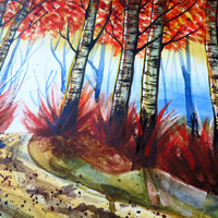 Fall Birch Tree Walk in the Woods Original Watercolor Painting