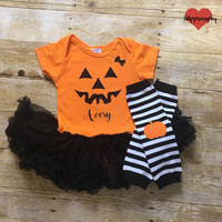 Baby Girl Halloween Outfit, Pumpkin Onesuit, Jack O Lantern Outfit, Personalized Halloween Dress, Toddler Halloween Outfit, Halloween Tutu