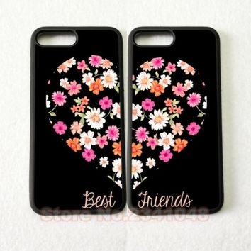 2pcs/lot heart pair matching best friends hard skin mobile phone cases phone accessories for iphone 4s 5s 5c 6 6 plus 7 7plus