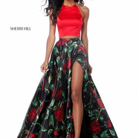 Sherri Hill 51870 Floral A-Line Two-Piece with Slit