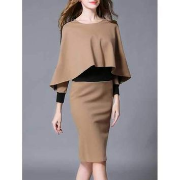 Revisable Color Block Fitted Dress With Cape - Khaki S