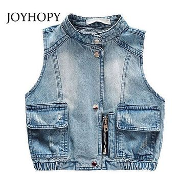 JOYHOPY Baby Girls Vest Waistcoats Kids Cartoon Sleeve Jacket Girls Denim Vest Back Bear Baby Vest
