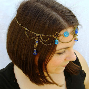Ocean Goddess Circlet, Goddess of the Sea Diadem Headdress, Renaissance Circlet, Princess Crown, Blue Circlet, Antiqued Brass Headpiece
