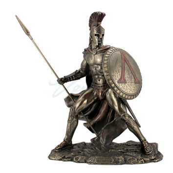 Leonidas Greek Warrior with Spear and Shield Statue 13.25H