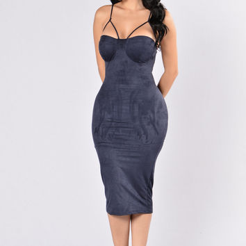 Rich Like Suede Dress - Navy
