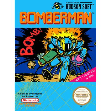 Retro Bomberman Game Poster//NES Game Poster//Video Game Poster//Vintage Game Cover Reprint