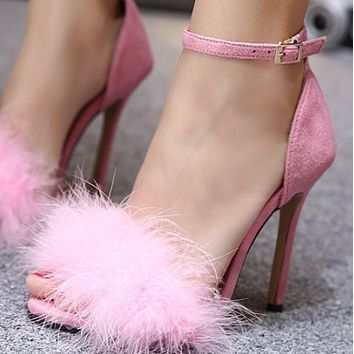 Hot style hairfish mouth sexy word buckle belt stiletto heels shoes