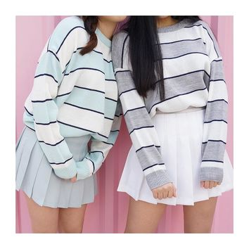 Women's Sweaters Kawaii Ulzzang Winter Loose Stripe Sweater Sweaters Girlfriends Female Korean Harajuku Clothing For Women