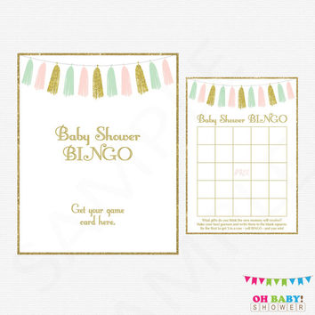 Pink Mint Gold Baby Shower Bingo Game, Bingo Sign, Printable Baby Shower Games, Girl Baby Shower, Baby Bingo, Printable Download, TASPMG