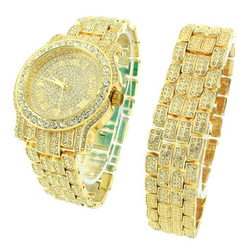 Hip Hop Iced Out Designer 14k Gold Finish Men's Analog Watch & Bracelet Gift Set
