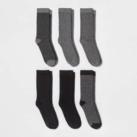 Women's 6pk Novelty Crew Socks - A New Day™ Black One Size
