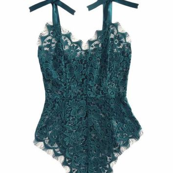 Ribbon Floral Lace Bodysuit Bow Tie Shoulder