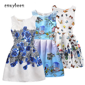 2017 New Year Kids Summer Christmas Princess Casual Print Pattern Party Girls Dress Children Clothes Baby Girl Dresses
