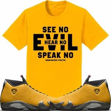 Jordan 14 Alternate Ferrari Gold Sneaker Tees Shirt to Match - EVIL