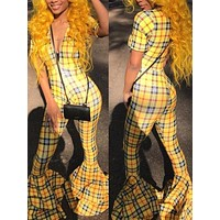New Yellow-Black Plaid Cascading Ruffle Deep V-neck Bell Bottom Flare Casual Long Jumpsuit