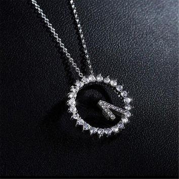 Womens Clock Time Crystal Pendant Necklace +Gift Box