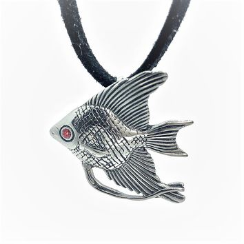 ON SALE - Tropical Angel Fish Stainless Steel Pendant Necklace