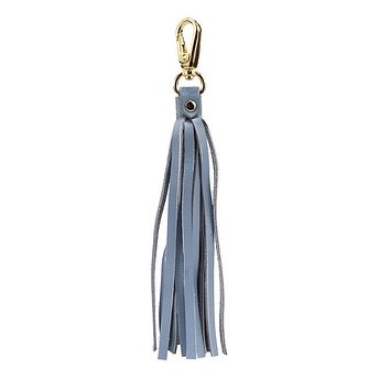 Fringe Power Leather Bag Charm-Serenity/Gold