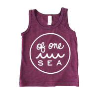 Kid's Cranberry Tri-Blend Tank Top with logo in White