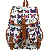 Leisure Butterfly Print Women Rucksack Two Pockets College Canvas Backpack