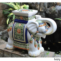 Global Moroccan Caravan Large Porcelain Elephant Stool